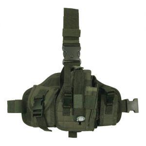 Funda de pistola para pierna MFH con portacargadores y sistema MOLLE en verde oliva