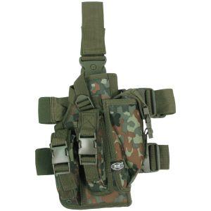Funda de pistola para pierna MFH con 3 portacargadores en Flecktarn