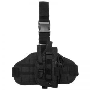 Funda de pistola para pierna MFH Tactical con sistema MOLLE en negro