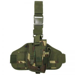 Funda de pistola para pierna MFH Tactical con sistema MOLLE en Woodland