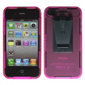 Funda translúcida para iPhone 4/4S Nite Ize Connect en rosa