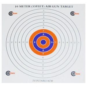 Pack de 100 dianas de tiro SMK Colour Centre de cartón de 14 cm