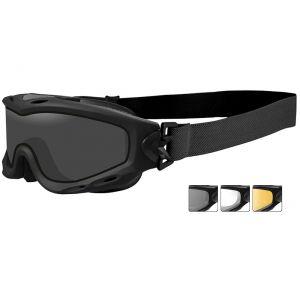 Gafas de protección Wiley X Spear con lentes dobles ahumadas + transparentes + naranja claro y montura en negro mate