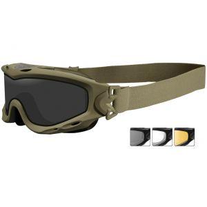 Gafas de protección Wiley X Spear con lentes ahumadas + transparentes + naranja claro y montura en Tan