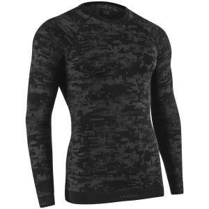 Camiseta de manga larga Tervel Optiline con patrón de camuflaje digital en negro / gris