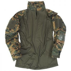 Camisa con coderas Mil-Tec Warrior en Digital Woodland