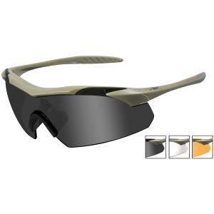 Gafas Wiley X WX Vapor con lentes ahumadas + transparentes + naranja claro y montura en Tan mate