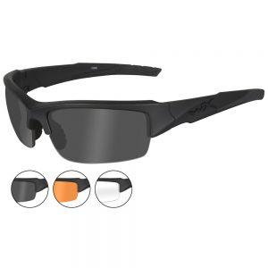Gafas Wiley X WX Valor con lentes ahumadas + transparentes + naranja claro y montura en negro mate