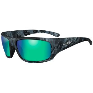 Gafas Wiley X WX Omega con lentes polarizadas en verde esmeralda espejado y montura en Kryptek Neptune