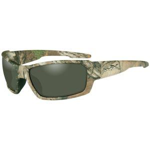 Gafas Wiley X WX Rebel con lentes polarizadas en verde y montura en Realtree Xtra