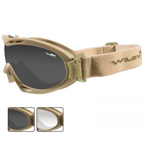 Gafas de protección Wiley X Nerve con lentes ahumadas + transparentes y montura en Tan
