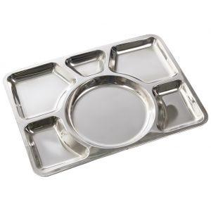 Bandeja de acero inoxidable para servir comida con 6 compartimentos Mil-Tec