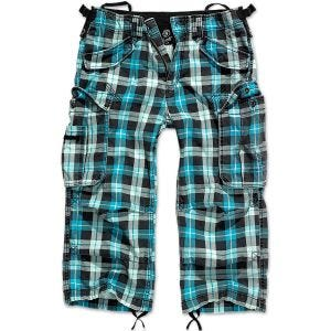 Pantalones pirata Brandit Industry Vintage en Turquoise Checkered