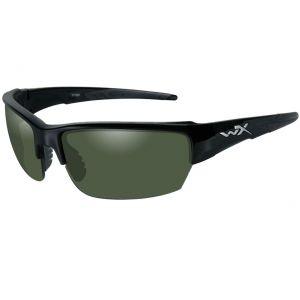 Gafas Wiley X WX Saint con lentes polarizadas ahumadas en verde y montura en negro brillante
