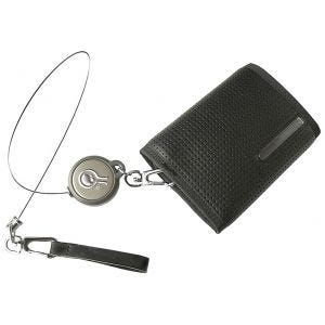 Cartera Civilian Rewind Duo con un cable de seguridad retráctil en negro