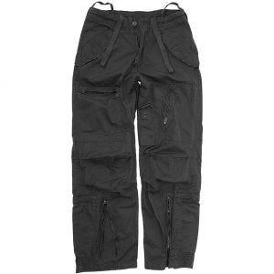 Pantalones prelavados de piloto Mil-Tec de popelín de algodón en negro