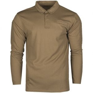Mil-Tec Tactical Long Sleeve Quick Dry Polo Shirt Dark Coyote