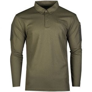 Mil-Tec Tactical Long Sleeve Quick Dry Polo Shirt Olive