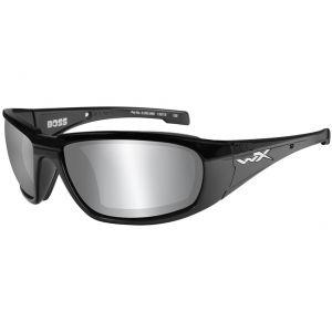 Gafas Wiley X WX Boss con lentes ahumadas en Silver Flash y montura en negro brillante