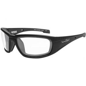 Gafas Wiley X WX Boss con lentes transparentes y montura en negro brillante