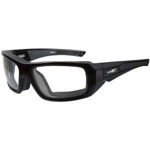Gafas Wiley X WX Enzo con lentes transparentes y montura en negro brillante