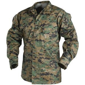 Camisa Helikon USMC de sarga de polialgodón en Digital Woodland