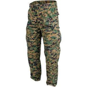Pantalones Helikon USMC de sarga de polialgodón en Digital Woodland