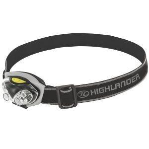 Linterna frontal Highlander Spark de 4 + 2 luces LED en negro / plateado