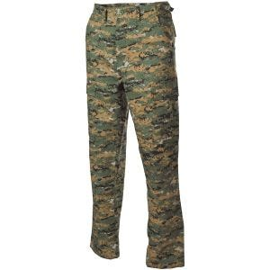 Pantalones MFH BDU Combat de Ripstop en Digital Woodland