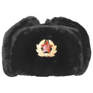 Gorro de invierno MFH Russian con insignia en negro