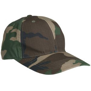 Gorra de béisbol Mil-Tec de Ripstop con hebilla metálica en Woodland
