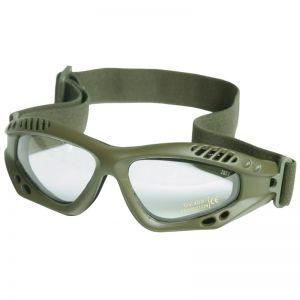 Gafas de protección Mil-Tec Commando Air Pro con lentes transparentes y montura en verde oliva