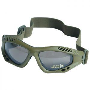 Gafas de protección Mil-Tec Commando Air Pro con lentes ahumadas y montura en verde oliva