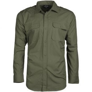 Camisa de manga larga Mil-Tec de tejido RipStop en verde oliva