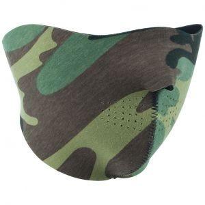 Máscara reversible de neopreno de media cara Mil-Tec Recom en negro / Woodland