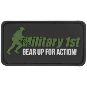 Parche Military 1st Gear Up For Action en negro/blanco/verde