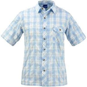 Camisa abotonada de manga corta Propper Covert en Light Blue Plaid