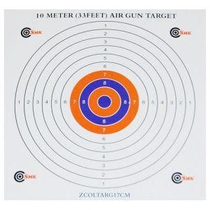 Pack de 100 dianas de tiro SMK Colour Centre de cartón de 17 cm