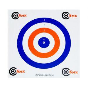 Pack de 100 dianas de tiro SMK de cartón de 17 cm en rojo / blanco / azul