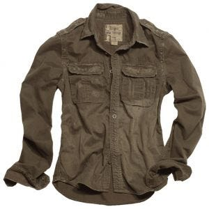 Camisa de manga larga Surplus Raw Vintage en marrón