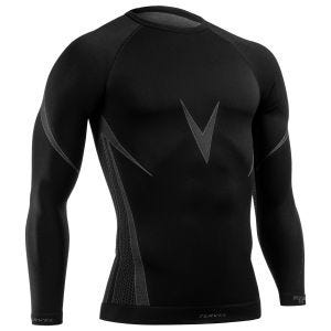 Camiseta de manga larga Tervel Optiline en negro / gris