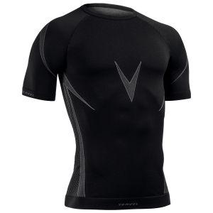 Camiseta de manga corta Tervel Optiline en negro / gris