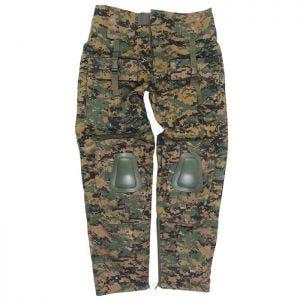 Pantalones con rodilleras Mil-Tec Warrior en Digital Woodland
